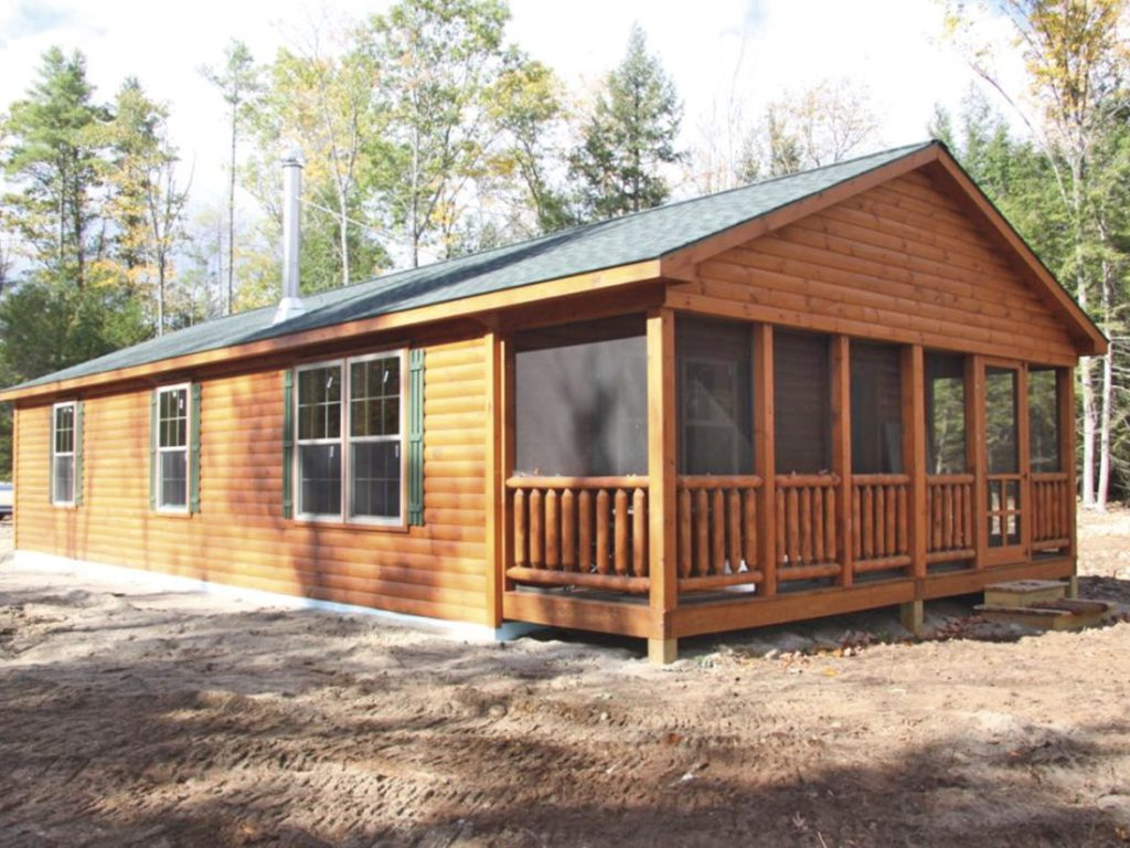 Double module settler log cabins manufactured in pa for Prefab screen porch