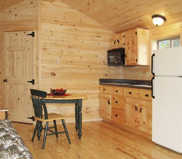 Kitchen and Dining in Modular Log Home