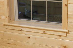 detailed log cabin window