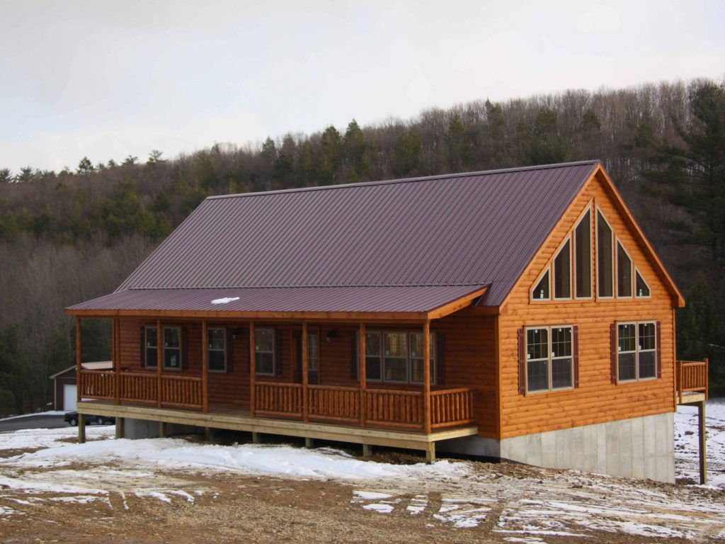 mountaineer deluxe log home cozy cabins manufactured in pa. Black Bedroom Furniture Sets. Home Design Ideas