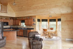 first floor living space in log cabin