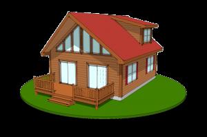 chalet log cabin design rendering
