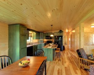 kitchen and living room in frontier log home
