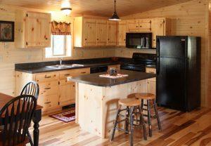 Modular log home kitchen with island