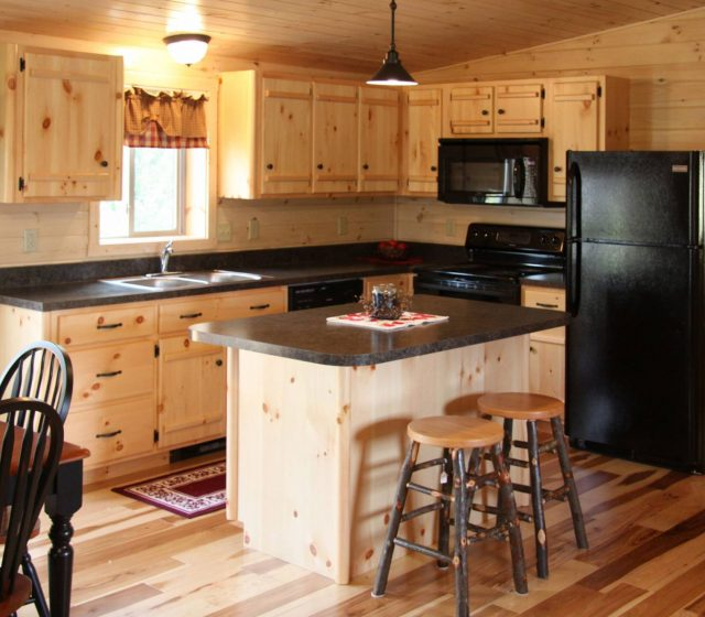 Modular log home kitchen with island