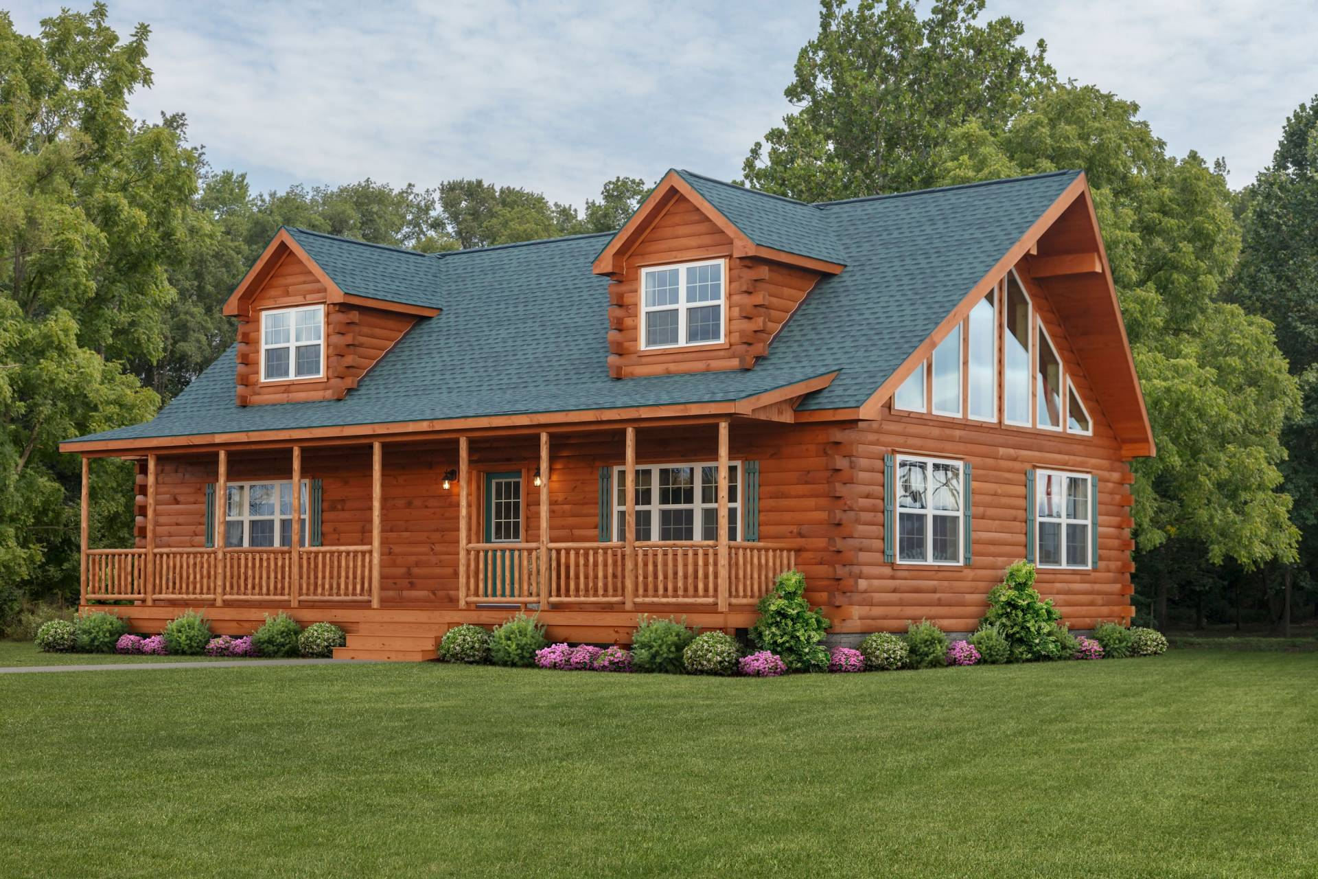Mountaineer deluxe log home cozy cabins manufactured in pa for Log cabins homes