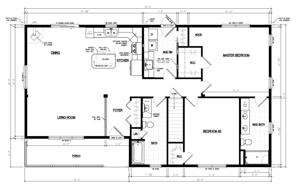 Floor Plan for the Frontier Cabin