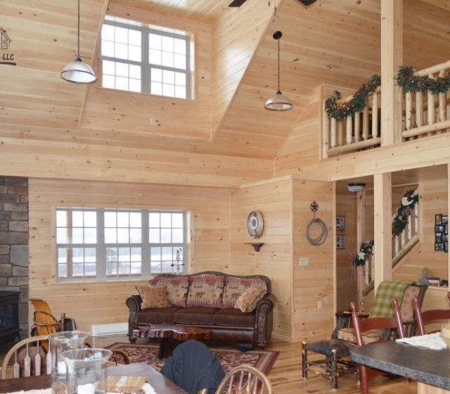 Log Cabin with High Ceiling