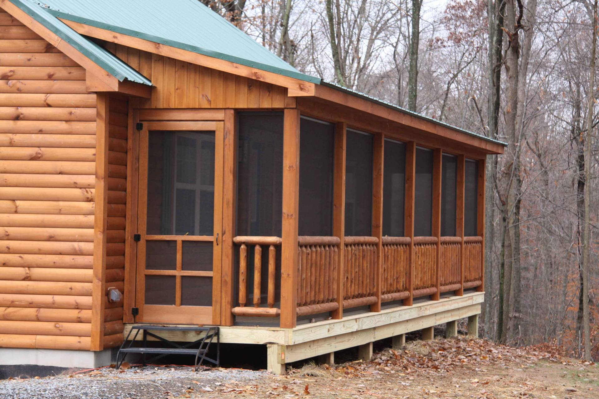 Log cabin with screened in porch cozy cabins llc for Screen porch roof options