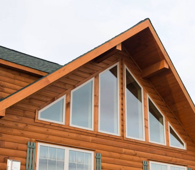 A-frame log cabin with prow