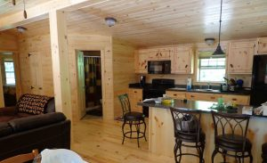 log cabin kitchen with wooden cabinets