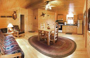 single story settler log cabin