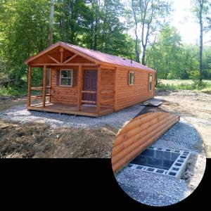 cabin on stone pad