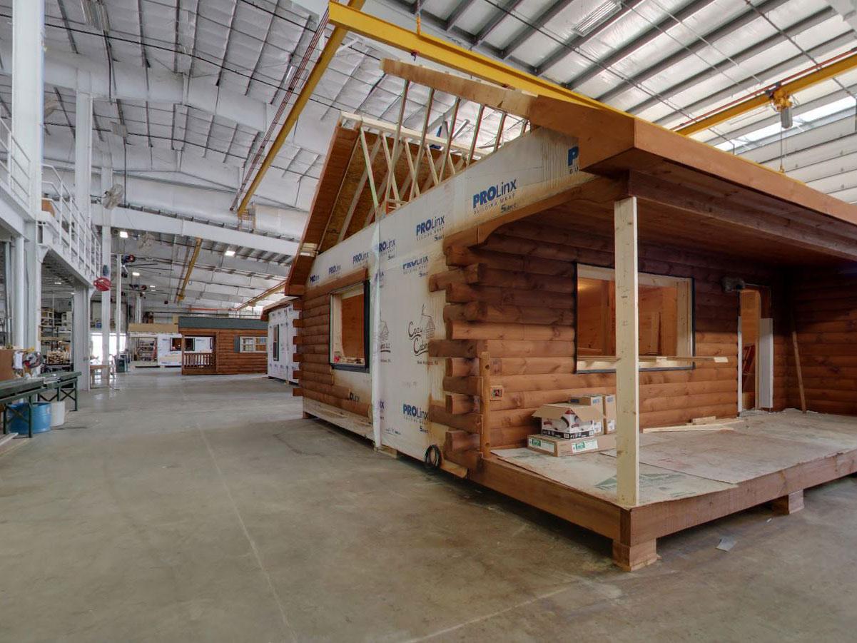 PA warehouse for modular log cabin construction