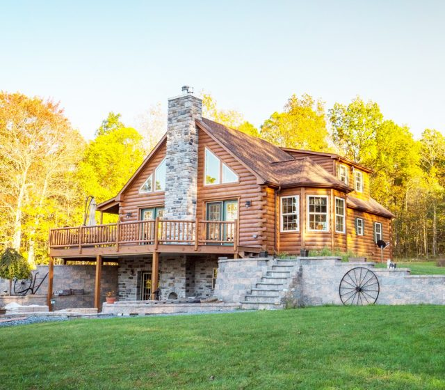 large mountaineer deluxe cabin with stone patio