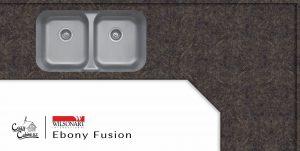 ebony fusion countertop installation in log cabin