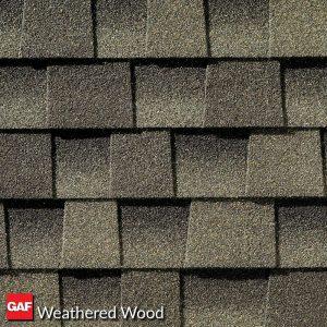 GAF weathered wood asphalt shingles