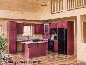 maple vintage burgundy cabinets in log cabin kitchen
