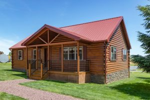 rancher style modular log home with attached porch