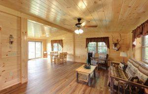 interior of log cabin living room