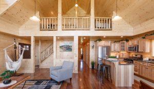 cedar wood interior of prefab cabin