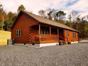 single story frontier modular log home
