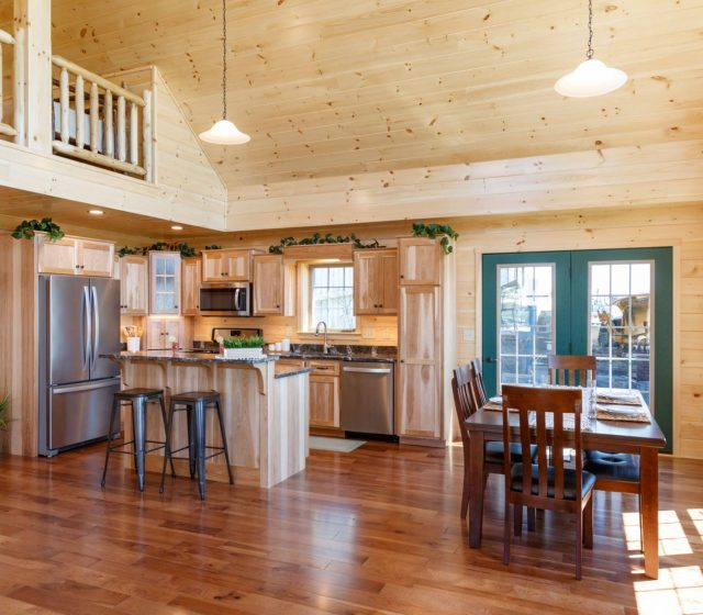 small log cabin kitchen and dining room
