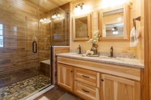 wooden drawer and laminate countertop in cabin bathroom