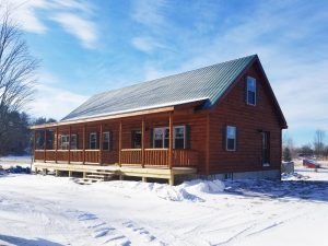single story log cabin manufactured in PA