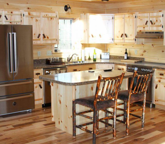 white pine kitchen cabinets and kitchen island
