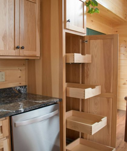 wooden pantry for log cabin kitchen