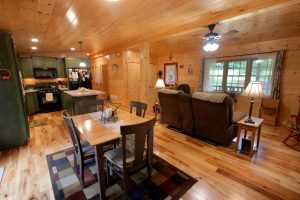 beautiful wooden kitchen and living room space