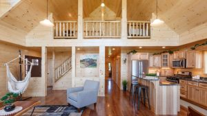 white pine kitchen and living room in modular home