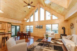 a frame white pine interior