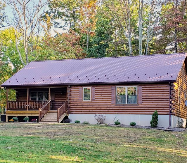 log cabin one story home