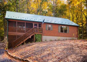 frontier log cabin with small screened in porch