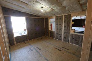insulation installation in modular cabin