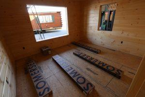 cabin bedroom before window installation