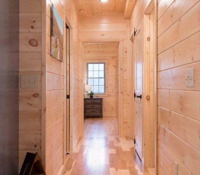pine cabin hallway