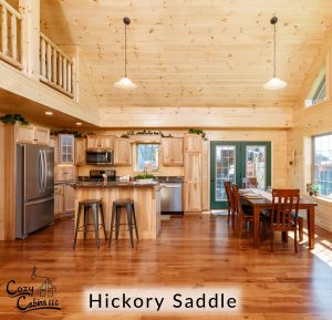 hickory saddle flooring in cabin kitchen and dining room