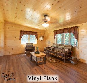 vinyl plank flooring in log cabin living room
